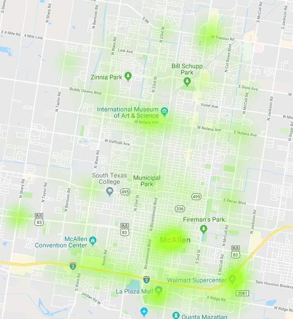 mcallen car accidents december 2018 heat map